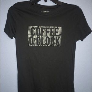 """black """"Coffee O'Clock"""" tee"""